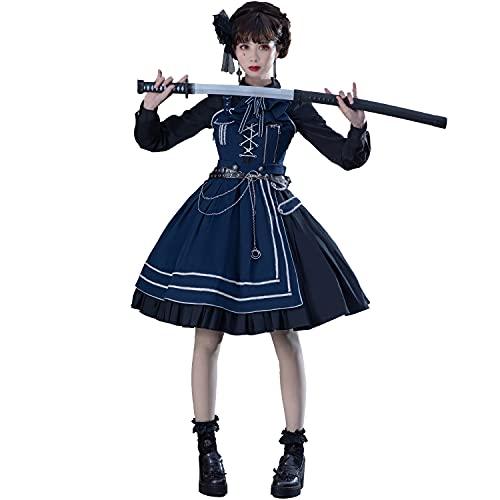 WKNBEU Vestido de Lolita Militar Azul de Talla Grande Falda Puente gótica Japonesa Vestido Victoriano Vestido de Princesa de Verano para Mujer Kawaii Blue-S