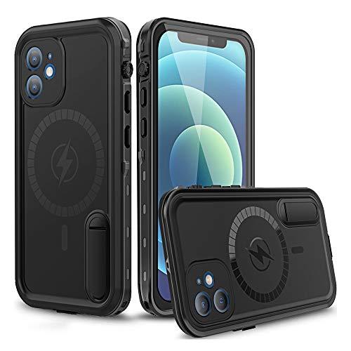 AIHülle für iPhone 12 Wasserdicht Magnetisch Hülle,[Staubdicht] [Wasserdicht] [Stoßfest] IP68 Zertifiziert voll versiegelt wasserfeste handyhülle Outdoor Hülle für iPhone 12 6.1 Zoll
