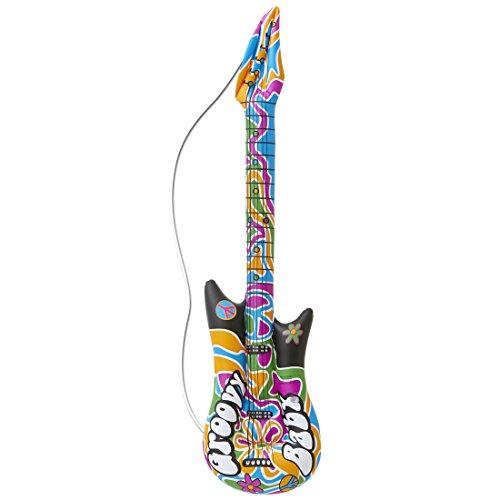 Amakando Guitarra de Aire Groovy Guitarra Hippie para hinchar 105cm Instrumentos de Estrella de Rock Complementos Disfraz sesentero Complemento rockero para inflar Instrumento Musical de Aire