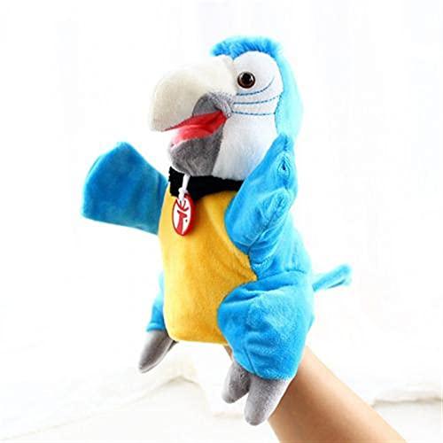 JSJJARF Fingerpuppen Simulation Weiche Vogel Papagei Plüschhülse Hand Marionette Stofftier Spielzeug Kinder Geschenk Papagei Hand Puppe Plüsch Puppe Tierhandschuhe (Color : Blue)