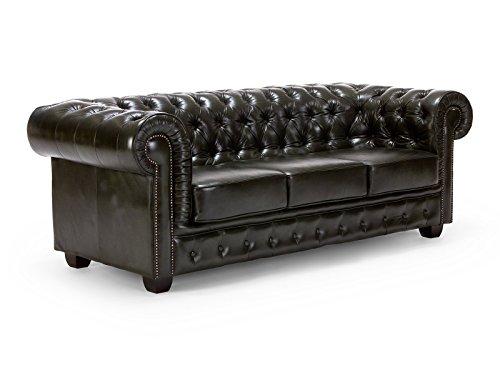massivum Sofa Chesterfield 3-Sitzer 230x72x90 Echt-Leder grün Couch im englischen Stil mit Federkern-Polsterung