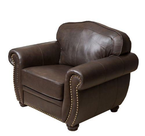 Abbyson Palaza Leather Armchair, Brown