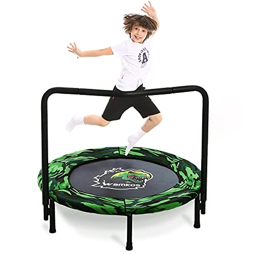2021 Upgraded Dinosaur Mini Trampoline for Kids with Handle, Foldable Kids Trampoline for Play & Exercise Indoor or Outdoor, Camo Safty Padded Cover...