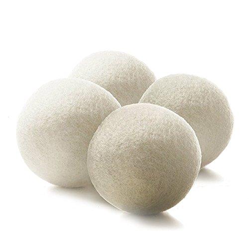 Bramble 4 stuks hypoallergeen wasdrogerballen voor de wasdroger, 100% premium wol, herbruikbaar, spaart energie, handgemaakt, natuurlijke wasverzachter – maakt kleding natuurlijk zachter.