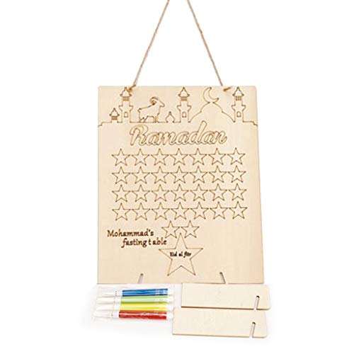 Wooden Ramadan Countdown Calendar DIY Decoration with Pens