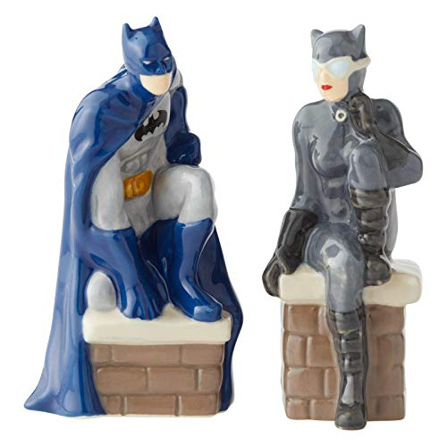 Enesco 6003735 DC Comics Ceramics Batman and Catwoman Salt and Pepper Shakers, 3.5 Inch, Multicolor