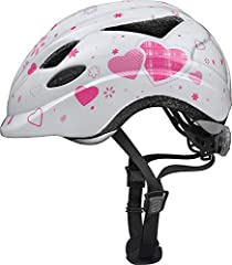 Abus Unisex – Barnens cykelhjälm Anuky, 08184, Vit (vitt hjärta), Storlek M (52-57 cm)