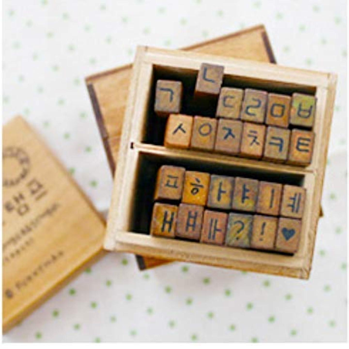 Korean Alphabet (Hangul Set 2) Rubber Stamp Letters ?? ??? Characters Wooden Box Vintage Antique Finish - DIY