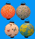 4 Battery-operated, Assorted designs Chinese/japanese Paper Lanterns 12' Diameter