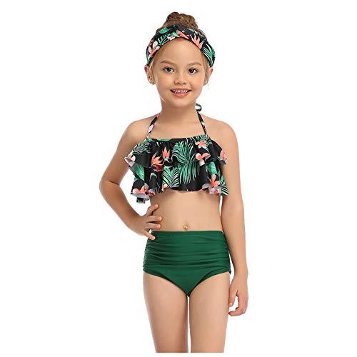 Traje de baño para padres e hijos de moda estampada cintura alta de dos piezas traje de baño bikini