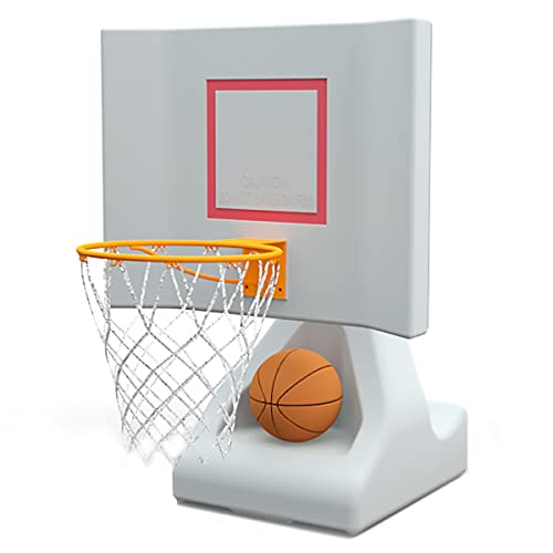 POOL SHOT Rock the House Poolside Basketball Hoop with Powder Coated Hoop, Stainless Steel Hardware, and 2 Basketballs - In Ground or Above Ground Pool Basketball Hoop
