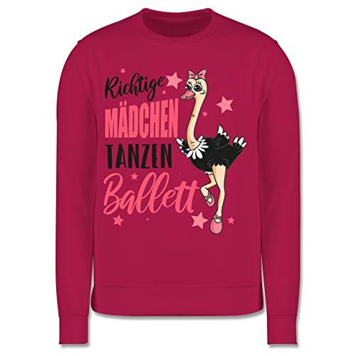 Sport Kind - Richtige Mädchen tanzen Ballett Strauß - 104 (3/4 Jahre) - Fuchsia - Pullover Ballett - JH030K - Kinder Pullover