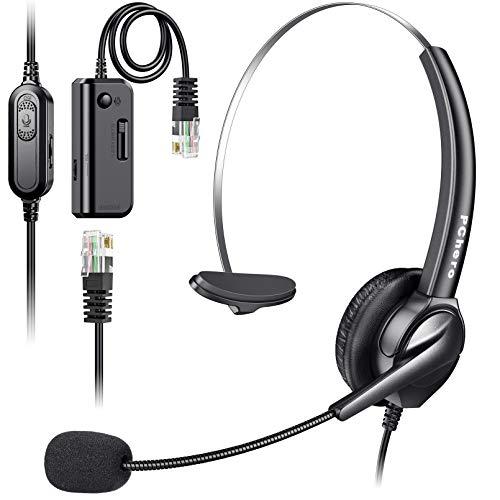 Auriculares telefónicos con micrófono, PChero RJ9 Micrófono con cancelación de ruido Adaptador de centro de llamadas Auriculares telefónicos para oficinas negocios Servicio al cliente - Monoaural
