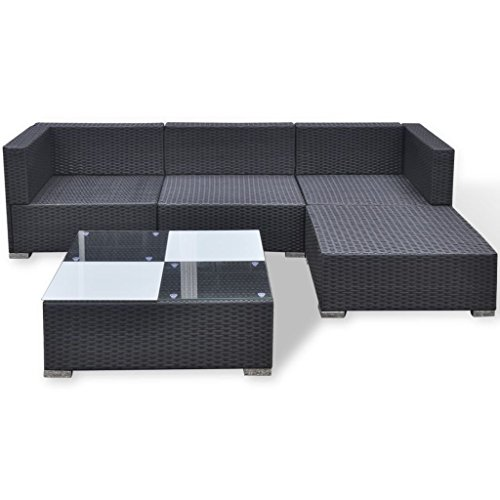 Festnight Poly Rattan Patio Garden Sofa Set Coffee Table Set 14 Piece Black