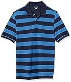 Amazon Essentials Men's Slim-Fit Cotton Pique Polo Shirt, -Blue/Navy Rugby Stripe, X-Large
