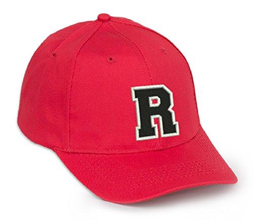 4sold Gorra de béisbol Informal de algodón con Letras del abecedario en Negro niño Adulto Color Rojo A-Z (Rojo R, Adulto)