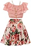 Cold Shoulder Crop Top Ruffle Layered Top Flower Girl Skirt Sets for Big Girl Blush 10 JKS 2130S