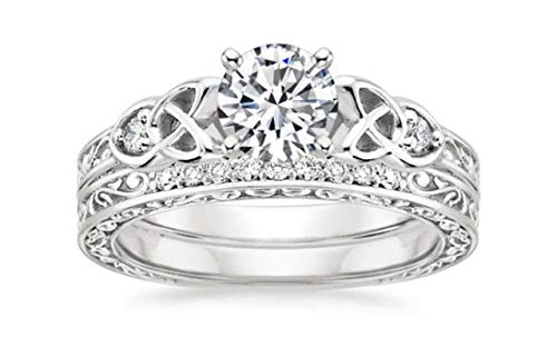 ABHI 1 CT Created Diamond Celtic Knot Vintage Bridal Ring Set 14k White Gold Finish Ring Size-5