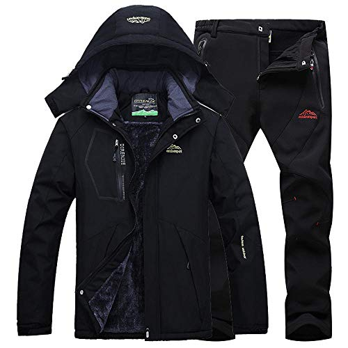 Acant Herren Skianzüge Winter Outdoor Skifahren Sport Jacke Plus Samt Verdickt Ski Hosen Set Black(1)-XL