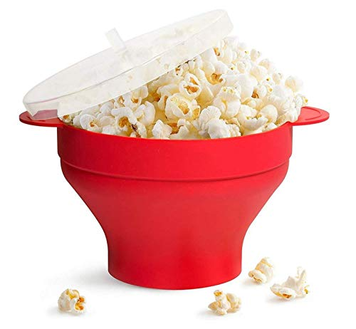 JHNEA Zusammenfaltbar Mikrowellen Popcorn Topf Schüssel mit Deckel zusammenfaltbar, Geben Sie nach dem Kauf das gleiche eins Popcornschüssel,Red