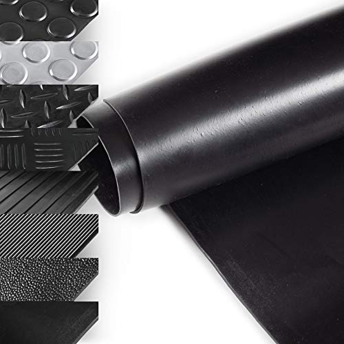 ANRO Gummimatte Schutzmatte Meterware Bodenmatte Glatt beidseitig Gummiläufer 100cm Breit 1mm stark Schwarz 100 x 100cm