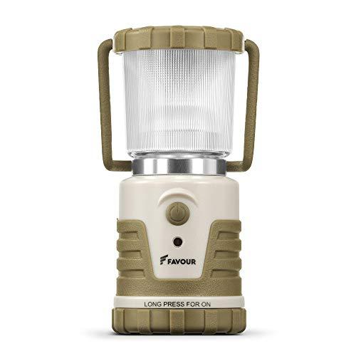 Favour L0541 Camping Laterne LED IPX4 wasserdicht, stoßfest, tragbare Campinglampe, Batteriebetrieb, 7 verschiedene Lichtmodi inkl. Kerzenlichtmodus, abnehmbarer Deckel, handliche & kompakte Grösse