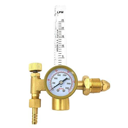 Hochwertig Argon Druckminderer Druckregler Druckreduzierventil Sicherheitsventil mit Durchflussregler und Durchflussrohr Stopfbuchse - Außengewinde