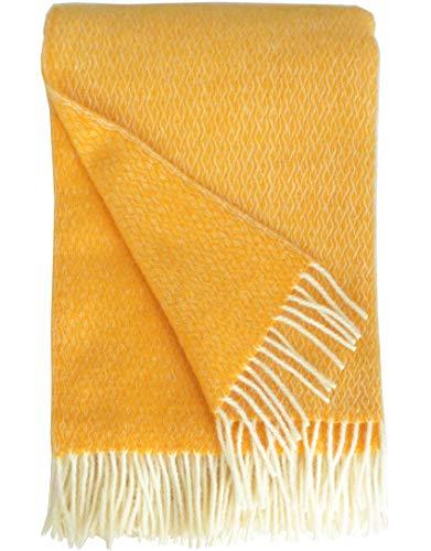 Plaids & Co Lange gelbe Wolldecke 'Brita' mit feinem Zopfmuster aus 100% Reiner Schurwolle Ökotex 100 Klasse 1, Kuscheldecke, Wollplaid, warme Decke, Überwurf (Sonnengelb-Creme, 140 x 220 cm)