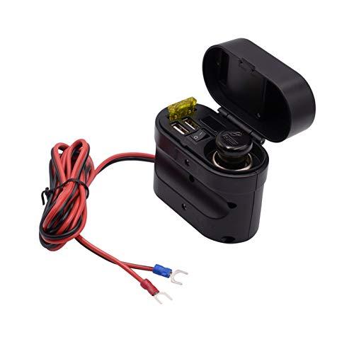 XIAOQIN BOMY Ajuste para MOFLYEEER Motorcycle Multi-FUNTWING 4 IN 1 Tipo de Reloj electrónico Encendedor de Cigarrillos Dual Puertos USB Cargador Impermeable