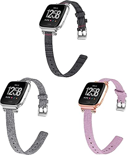 Gransho Compatible avec Fitbit Versa 2 / Versa 2 SE/Versa Lite/Versa smartwatch Bracelet en Montre à Dégagement Rapide, Bracelet de Montre Militaire en Toile pour Hommes Femmes (3-Pack H)