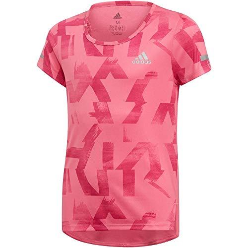 adidas Kinder Run Kurzarm Shirt, Semi Solar Pink/Real Magenta/Reflective Silver, 152