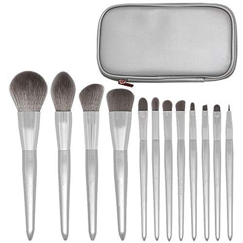 HFDXG Lot de 12 pinceaux de maquillage professionnels pour fard à paupières et fond de teint, Fibre synthétique., Argent (Silver), 12 Pcs(Cosmetic bag)