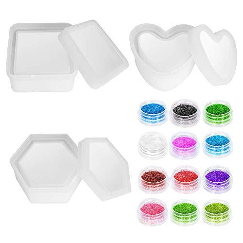 KKTICK 3 moldes de resina epoxi, moldes para cajas de joyería con moldes de silicona hexagonales, resina epoxi, molde de resina de corazón y caja de almacenamiento cuadrada para hacer artes y manualidades.
