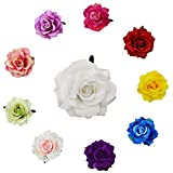 MOPOIN 10 horquillas de flores para el pelo con diseño de rosas, multicolor, para bodas, niñas y mujeres, tropicales en la playa