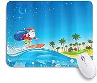 EILANNAマウスパッド クリスマスのビーチトロピカルナイトファンタジー漫画で袋で波にサンタをサーフィン ゲーミング オフィス最適 高級感 おしゃれ 防水 耐久性が良い 滑り止めゴム底 ゲーミングなど適用 用ノートブックコンピュータマウスマット