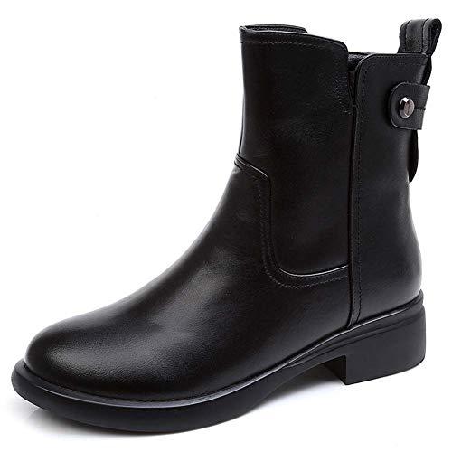 SCHOENEN YRQ Womens Fashion laarzen lederen high-Top Martins laarzen Plus kasjmier enkellaars,a,35