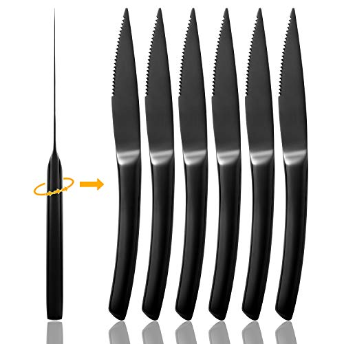 Solid Handle Black Steak Knives Ultra-Sharp Stainless Steel Cutlery Set,Dinner Knives 6-Piece kitchen Serrated Best Steak Knife kitchen Sets Dishwasher Safe