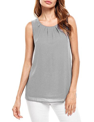 Beyove Women's Casual Summer Chiffon Keyhole Tank Top Sleeveless Blouse Shirt (X-Large, Grey-1)