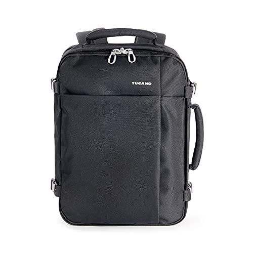 Tucano-Tugò-zaino da viaggio cabinabile. Vano laptop 13.3'/laptop 15.6'/MacBook 12'/MacBook Air 13'/MacBook Pro 13'/MacBook Pro 15'. Materiale tecnico. Schienale ergonomico Nero