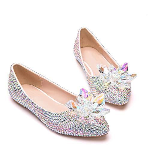 Zapatos de novia de mujer, Zapatillas de ballet puntiagudas con flores de...