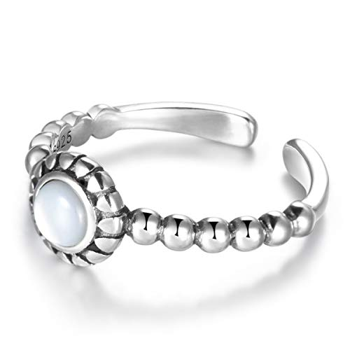 SNORSO Anillo ajustable de plata de ley con piedra lunar redonda para mujer