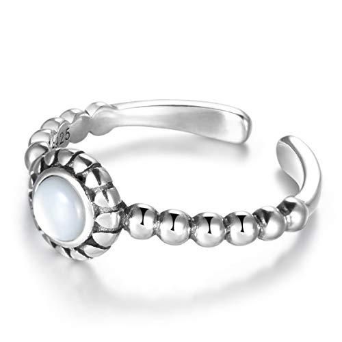 SNORSO Anillo de plata de ley con piedra lunar redonda ajustable para mujer