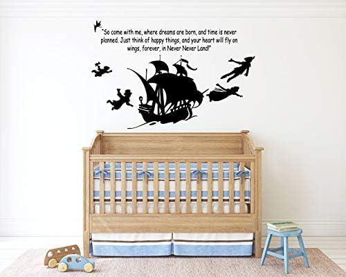 Peter Pan Cartoon Never Grow Up Wall Decal Sticker Ship Pirate Kids Children Boys Nursery Bedroom product image