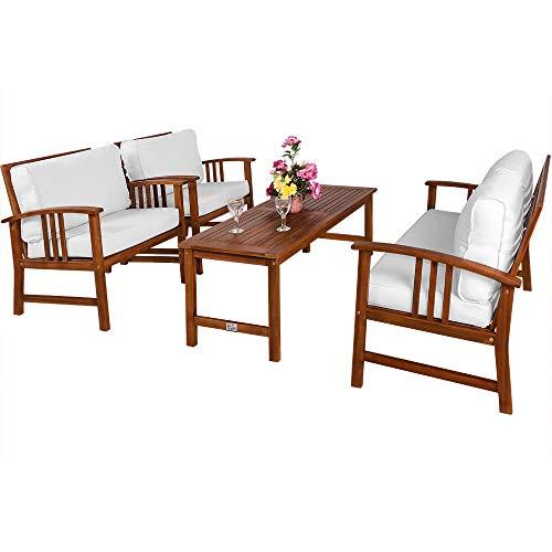 Deuba Conjunto de jardín Lounge ATLAS de madera de acacia con cojínes lavables crema 1 mesa 2 sillas y un sillón