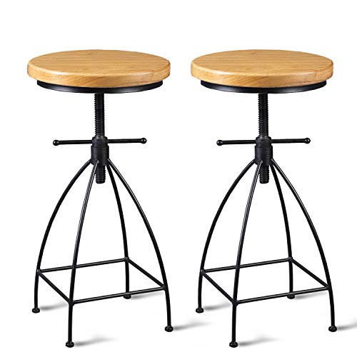Diwhy Industrial Vintage Rustic Bar Stool, Kitchen Counter Height Adjustable,Metal Stool,Swivel Stool,24 Inch,Fully Welded Set of 2 Light Wood Color Top