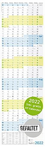 XL Wandkalender 2022 schmal/hochkant 30 x 97 cm, gefalzt | großer Jahreskalender, Wandplaner + extra A4 Kalender | nachhaltig & klimaneutral