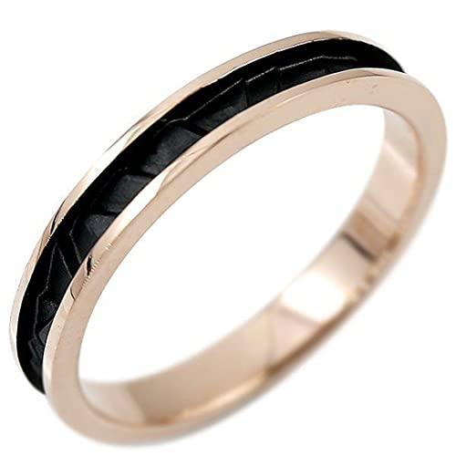 [アトラス]Atrus リング メンズ 18金 ピンクゴールドk18 ピンキーリング 地金 ブラックメッキ つや消し 宝石なし ストレート 指輪 17号