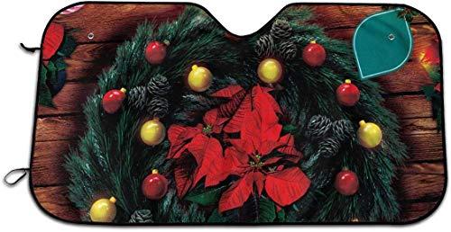 YJWLO Vrolijke Kerst Pine Krans Auto Voorruit Opvouwbare UV Ray Reflector Auto Voorruit Afdekking Zonneklep Protector