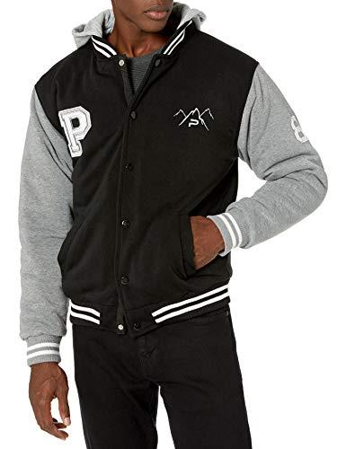 The Polar Club Mens' Fleece Varsity Baseball Jacket Black & Grey 2-Tone with Removable Hood (Size Small BLK&G)