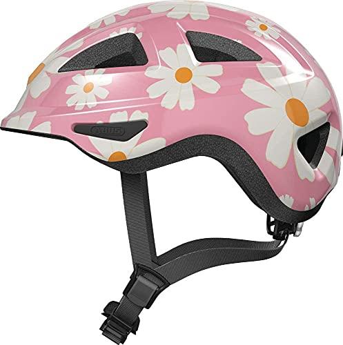 ABUS Kinderhelm Anuky 2.0 - Bunter Fahrradhelm für Kleinkinder und Kinder - mit Licht und Kinnpolster - für Mädchen und Jungen - Rosa mit Blumen, Größe M